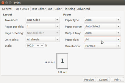 Select paper size